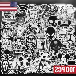 100 Black and White Skateboard Stickers Bomb Vinyl Laptop Lu