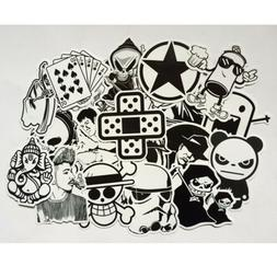 100 PC Black White Stickers Mix Lot Skateboard Graffiti Lapt