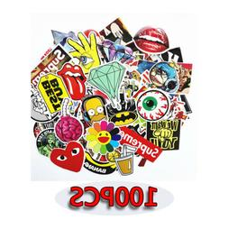 100 pcs Skateboard Stickers Graffiti Laptop Sticker Luggage