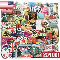 100 Travel Skateboard Stickers bomb Vinyl Laptop Luggage Dec