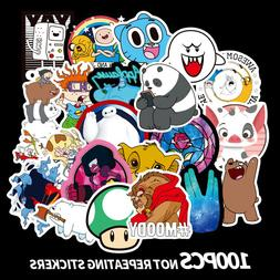 100Pcs Cute Cartoon Stickers For Laptop Motorcycle Skateboar
