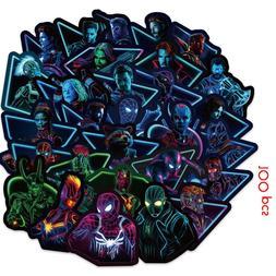 100pcs Neon Super Hero <font><b>Sticker</b></font> Pvc <font