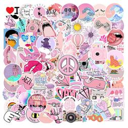 100Pcs Pink VSCO Sticker Bomb Decal Pack Vinyl Car Skateboar