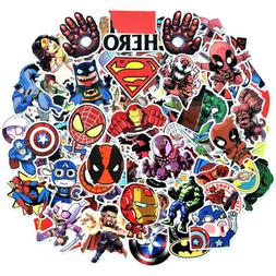 100Pcs Vinyl Marvel Superhero Stickers Pack Skateboard Lugga