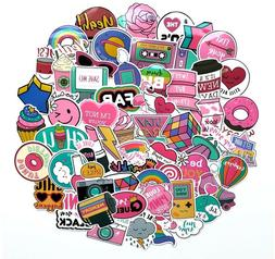 1980s 80s Theme Girly Girl Sticker Bomb Pack, Pink Vinyl PVC