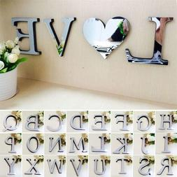 1Pcs 3D Mirror Wall Sticker Letters DIY Art Mural Home Room