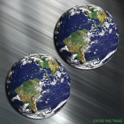 TWO Earth World Vinyl Decal Sticker For Car Laptop Skateboa