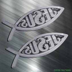 TWO JESUS FISH Vinyl Decal Sticker For Car Laptop Skateboar