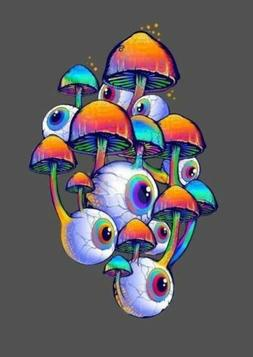 "3"" Eyes Shrooms Psychedelic Colorful Trippy Goth Horror Vi"