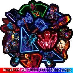 30PCS Marvel The Avengers Neon Stickers Sets Cartoon Anime S