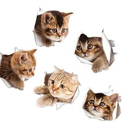 3D Cat Stickers Set of 5, Car Kitty Decals Animal Wall Decal