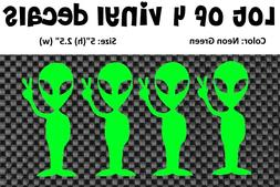 4 Alien UFO Space Peace Sci Fi Vinyl Decal Sticker Car Lapto