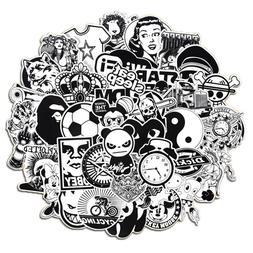 50 black n white skateboard sticker bomb
