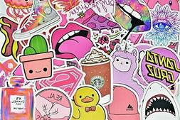 50 Cute Stickers Pink Girl Waterproof Stickers for Hydro Fla