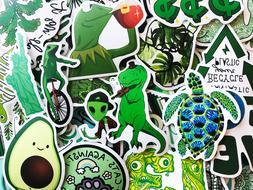 50 Green Animals Kermit Avocado Watercolor Cute Laptop Stick