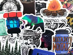 50 Hiking Camping Fishing Outdoor Stickers Decals For Phone