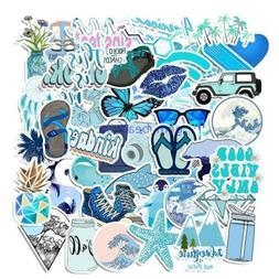 50 Pcs Cartoon Blue Waterproof Sticker DIY Laptop Trolley Ca