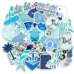 50 PCS Cute Blue VSCO Water Bottle Stickers Girl Trendy Lapt