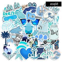 50 PCS Blue Stickers for Hydro-Flask VSCO Girl Waterproof St