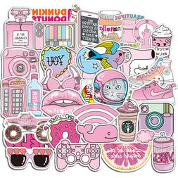 50 Pink Girl Cartoon Graffiti Decals Skateboard Laptop Lugga