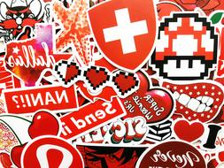 50 red sticker bomb scrapbooking laptop phone