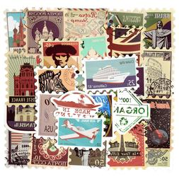 50 Travel Postcard Sticker Bomb Landmarks Stamp Retro Luggag