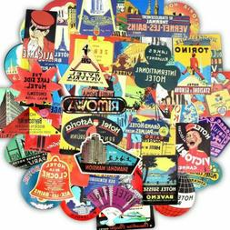50 Travel Sticker Lot Pack Hotel Vintage Retro Luggage Lapto