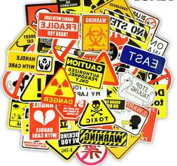 50 Warning Sign Stickers Lot Danger Laptop Phone Mac Waterpr