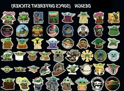 50PCS Baby Yoda Stickers, Mandalorian Baby Yoda Skateboard L