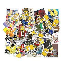 50pcs/Lot The Simpsons Vinyl Stickers for Truck/Skateboard/L