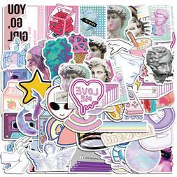 50Pcs Vinyl Vaporwave Stickers Decals for Laptop Luggage Gra