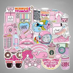 50pcs Waterproof Pink Girls Fun Sticker Toys For Car Suitcas