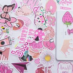 52 Cute Pink Teen Girl Waterproof Vinyl Stickers for Hydro F