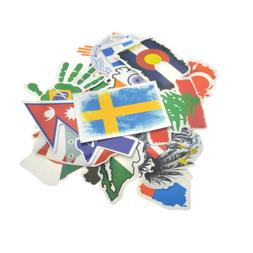 52 Set Country Flag Travel Decal Sticker Travel Hotel Suitca