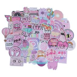 53Pcs Kawaii pink fun stickers luggage scrapbook suitcase la