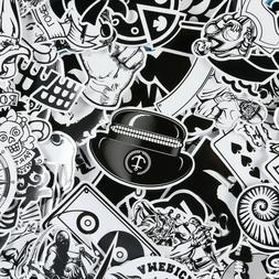 60pcs black and white stickers pack skateboard
