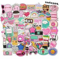 60pcs Girls Kawaii Pink Fun Sticker Toys Luggage Stickers fo