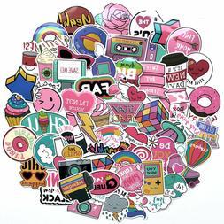 60pcs Pack Anime Cute Pink Stickers Decals Skateboard Car Lu