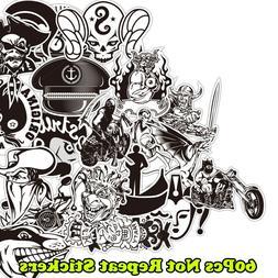 60Pcs Stickers Vinyl Skateboard Travel Case Guitar Laptop Pa