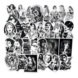 68Pcs/Set Black And White Sexy Beauty Tatoo Girls Stickers D