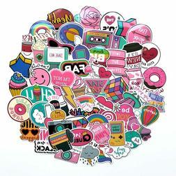 80s Theme Waterproof Girly Girl Sticker Bomb Pack, Pink Viny