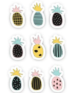 9 Pieces Summer Pineapple Vibes Vinyl Decal Decor Wall Scrap
