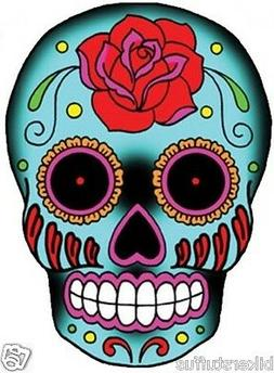BLUE ROSE SUGAR SKULL BUMPER STICKER LAPTOP STICKER HARD HAT