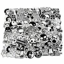 Laptop Stickers Black and White 100pcs Variety Vinyl Car Sti