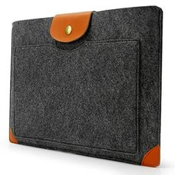Lavievert Handmade Gray Felt Case Leather Corner Bag Sleeve