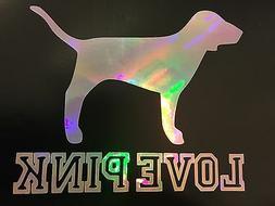 Love Pink Victoria's Secret Dog Rainbow Holographic Decal St