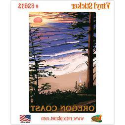 Oregon Coast Camping Beach Vinyl Sticker Travel Laptop Car D