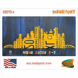 Pittsburgh License Plate Style Vinyl Sticker Laptop Bumper A