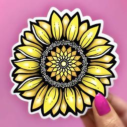 Sunflower Sticker, Flower Hippie Car Decal, Laptop Sticker,