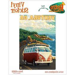 Ventura California Surfing Van Vinyl Sticker Travel Laptop C